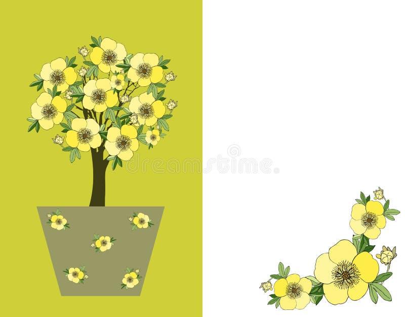 千岛茶 附加 与开花树的逗人喜爱的卡片在花盆 向量例证