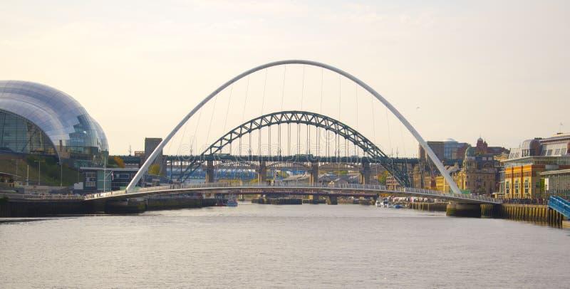 千年桥梁和泰恩河桥梁在河 免版税图库摄影