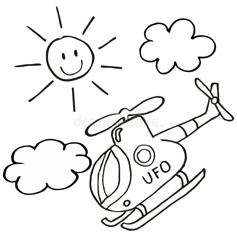 直升机和太阳 向量例证