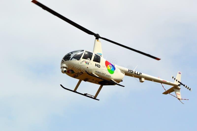 直升机天空新闻 免版税库存照片
