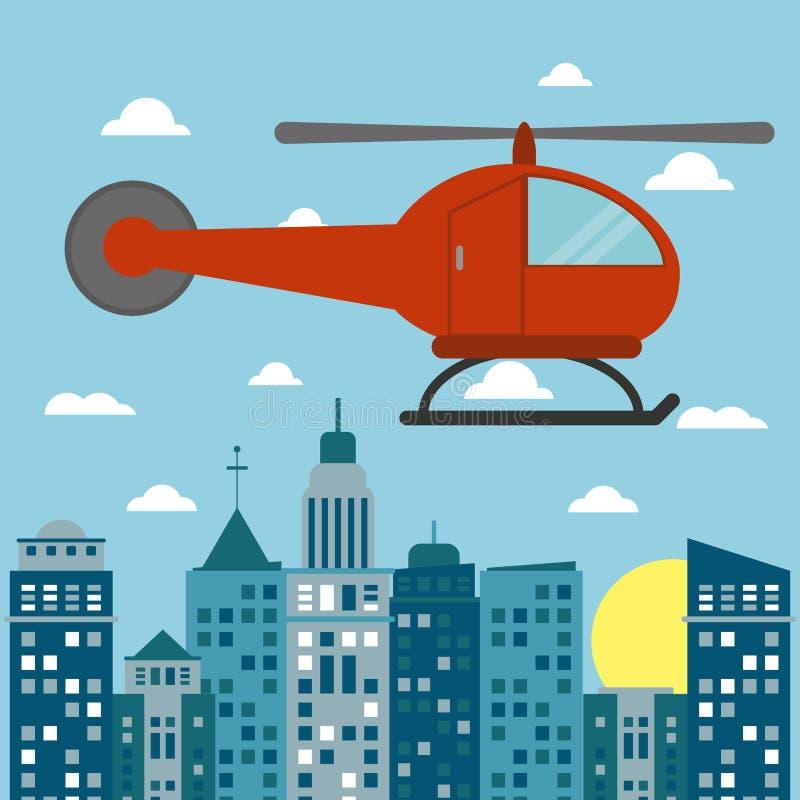 直升机运输城市太阳 向量例证