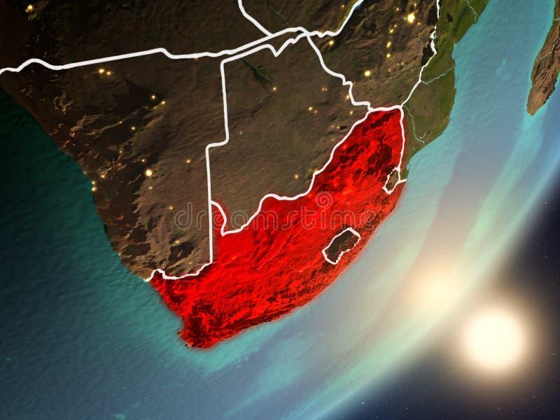 升起在从空间的南非上的太阳 库存例证