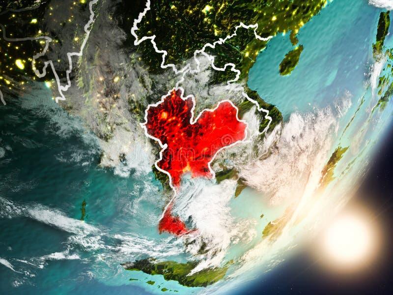 升起在从空间的泰国上的太阳 库存例证