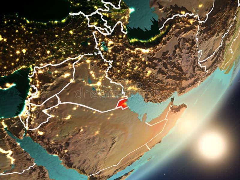 升起在从空间的科威特上的太阳 皇族释放例证
