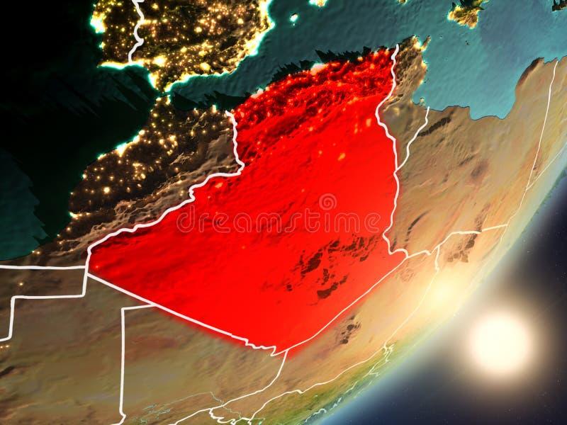 升起在从空间的阿尔及利亚上的太阳 向量例证