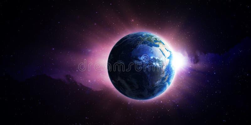 升起在地球的太阳 库存例证