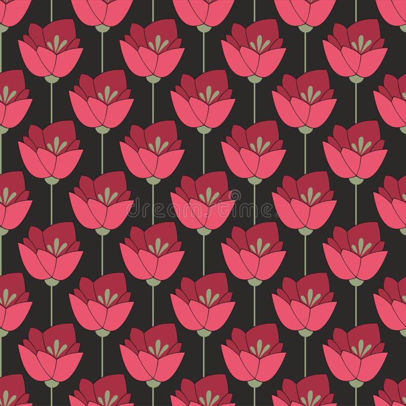 午夜红色花 无缝的背景 向量例证