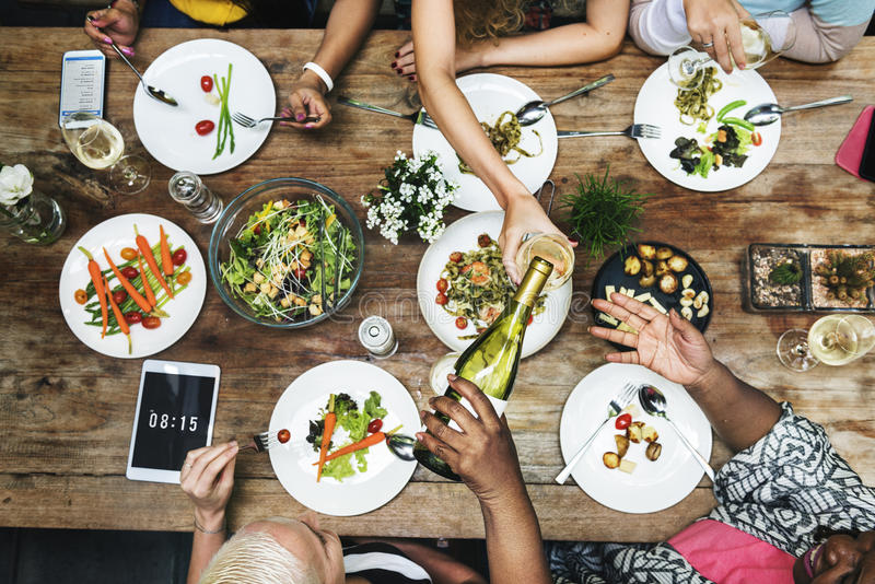 午餐庆祝会议朋友概念 库存照片
