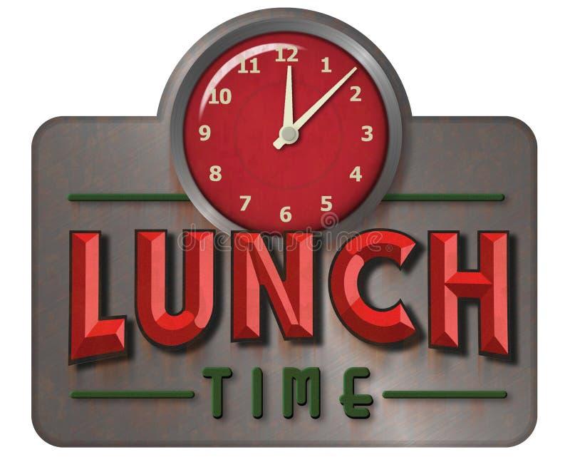 午餐时间与时钟的葡萄酒标志 免版税库存照片