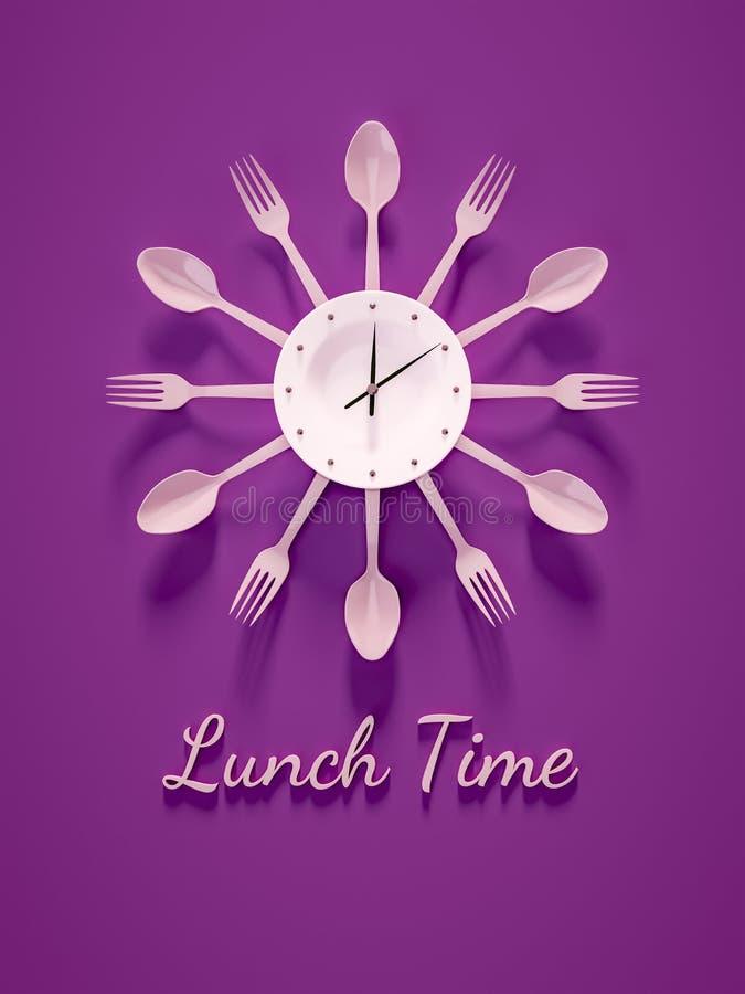 午餐时间的紫色利器时钟 皇族释放例证