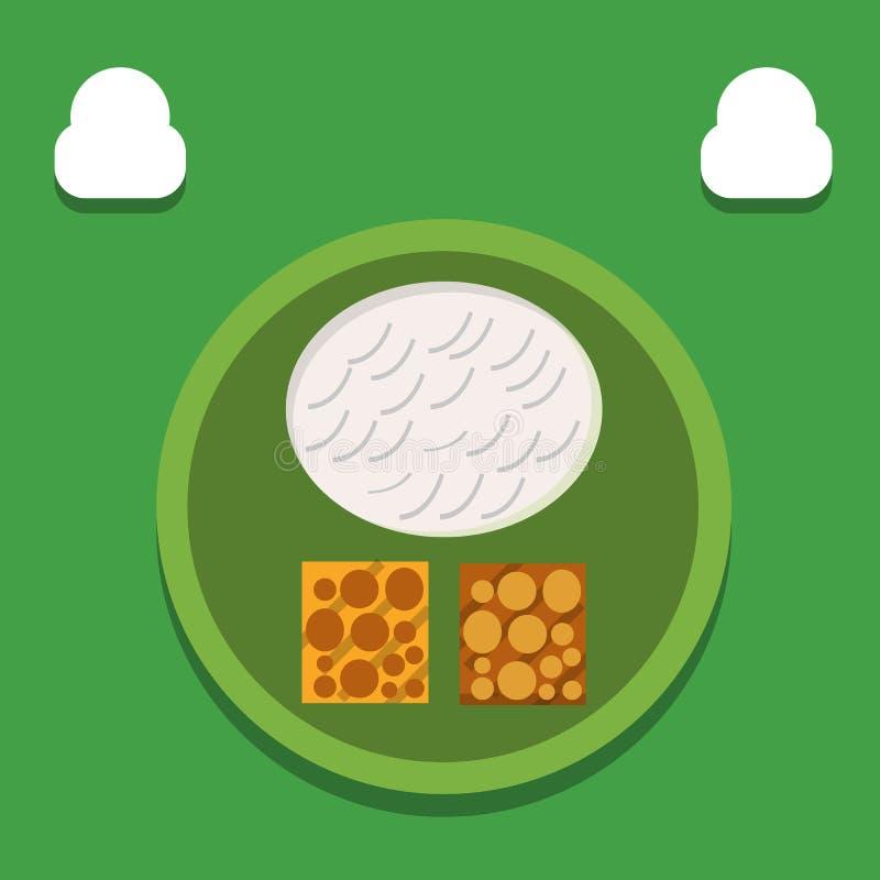 午餐用米坦佩食物,从大豆豆的食物,印度尼西亚llustration -传染媒介 皇族释放例证