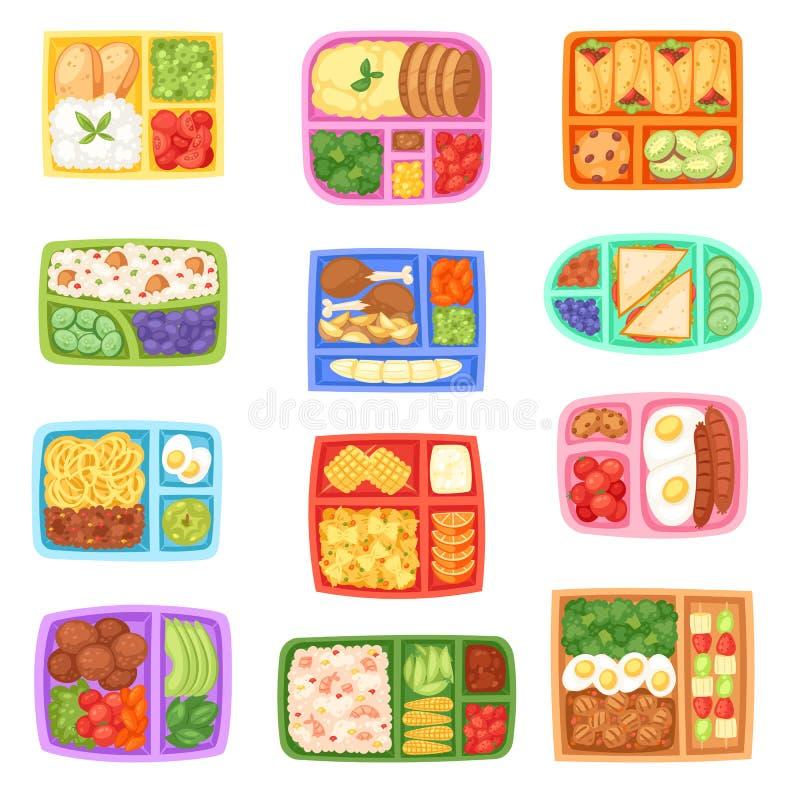 午餐盒传染媒介有健康食物蔬菜或水果盒装的孩子容器例证套的学校饭盒  库存例证