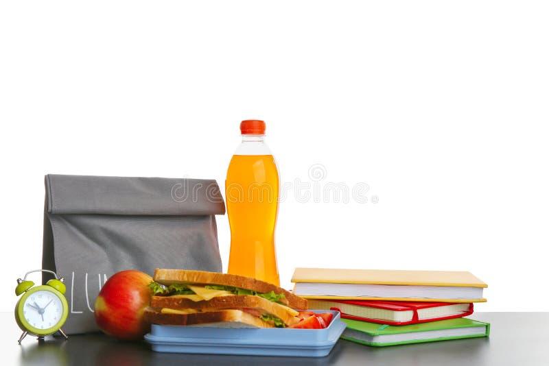 午餐盒用鲜美三明治,瓶 库存图片