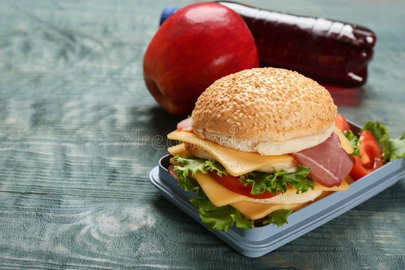 午餐盒用鲜美三明治 免版税图库摄影