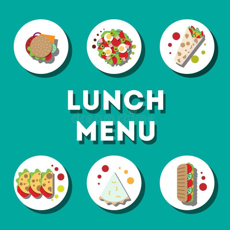 午餐菜单,现代平的象 皇族释放例证
