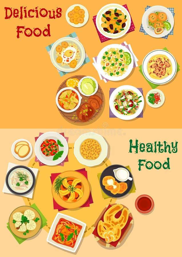 午餐象设置与健康食物盘 向量例证