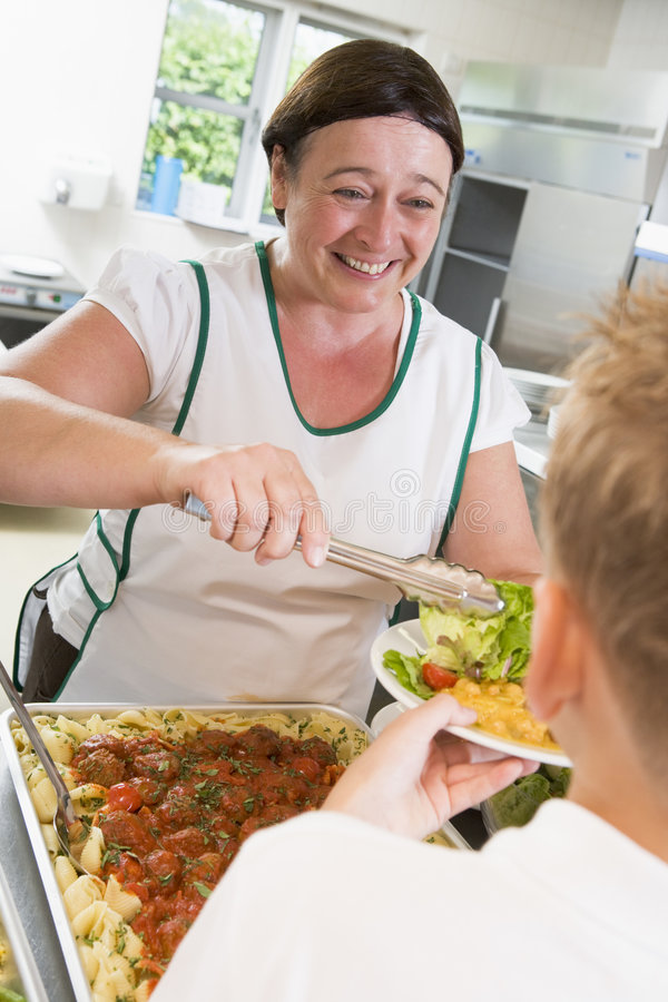 午餐lunchlady牌照学校服务 免版税库存图片