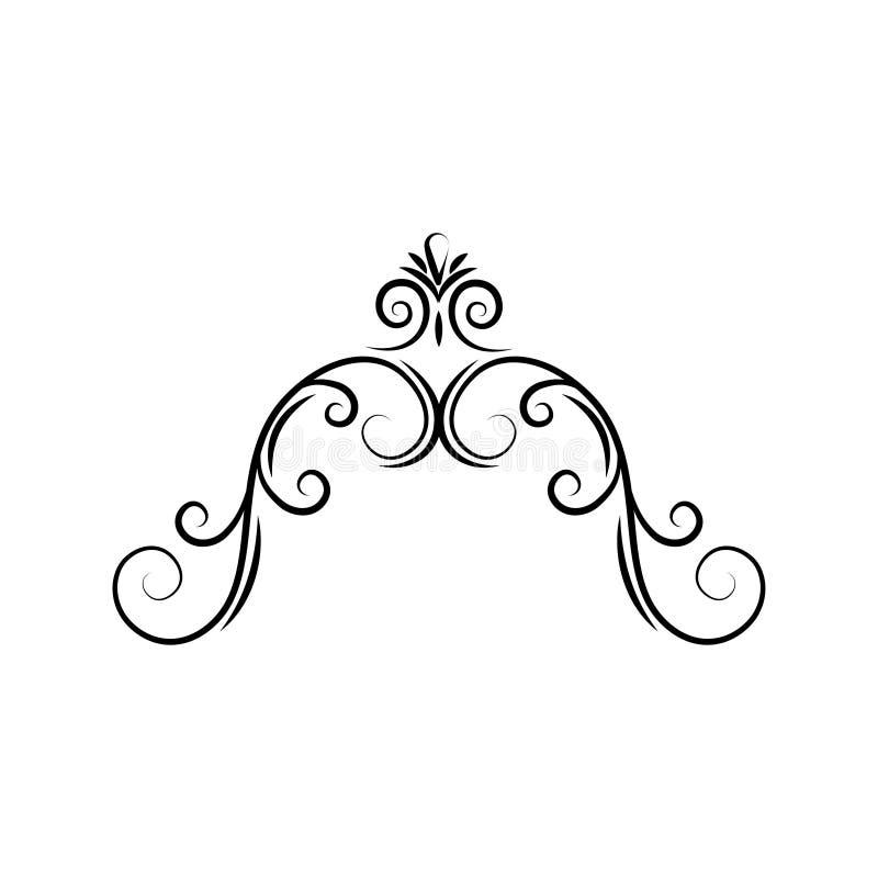 半卵形华丽漩涡框架 装饰页边界 金银细丝工的分切器 书法设计元素 向量 皇族释放例证
