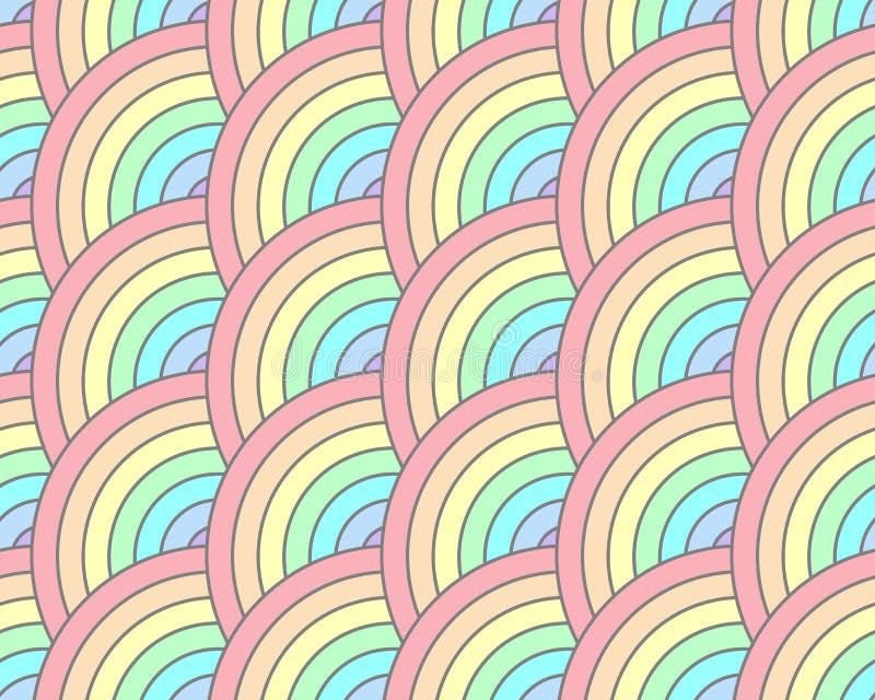 半圈转动大胆的彩虹淡色无缝的样式 皇族释放例证