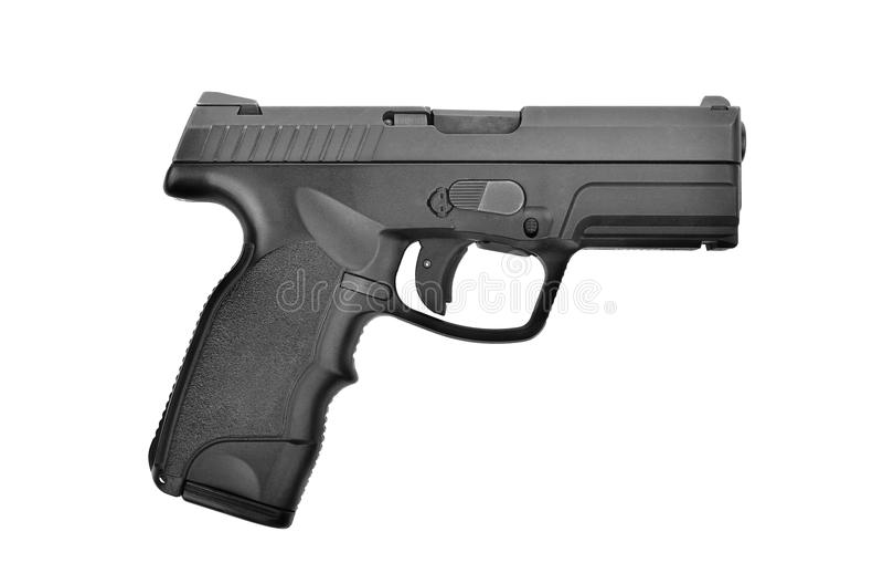 半在白色隔绝的自动9 mm手枪手枪 免版税库存照片