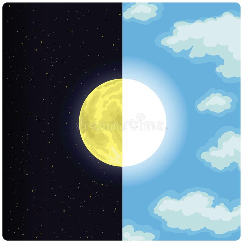 半太阳&月亮 皇族释放例证