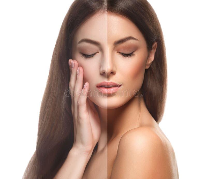 半妇女半面孔棕褐色愉快的年轻美丽的演播室画象健康的皮肤 库存照片