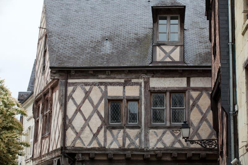 半木料半灰泥的房子在希农 免版税库存图片