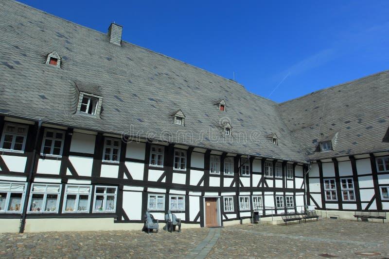 半木料半灰泥的房子在戈斯拉尔 库存图片