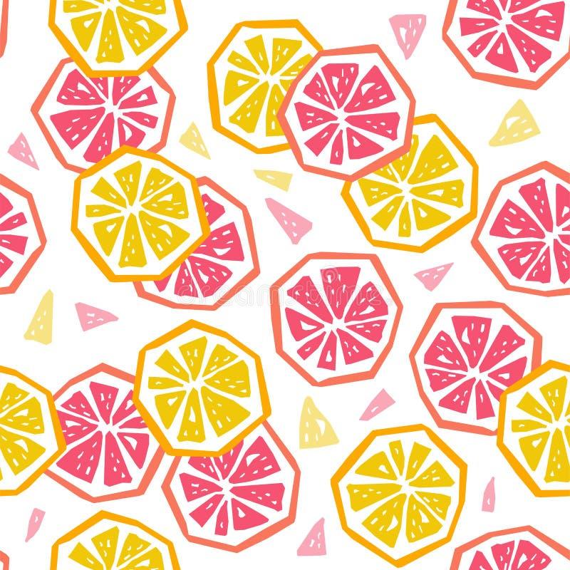 半柠檬和葡萄柚无缝的样式 库存例证
