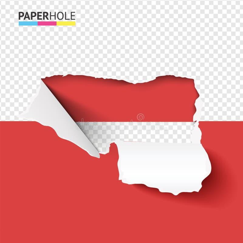 半空撕纸孔,半红色杆上有弯曲的撕边,供销售产品矢量概念。半个空的撕纸孔,在半个红色的杆å 库存例证