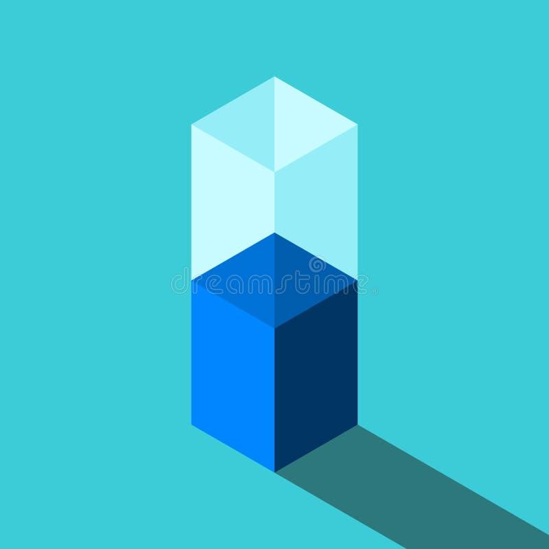 半空,充分的玻璃 向量例证