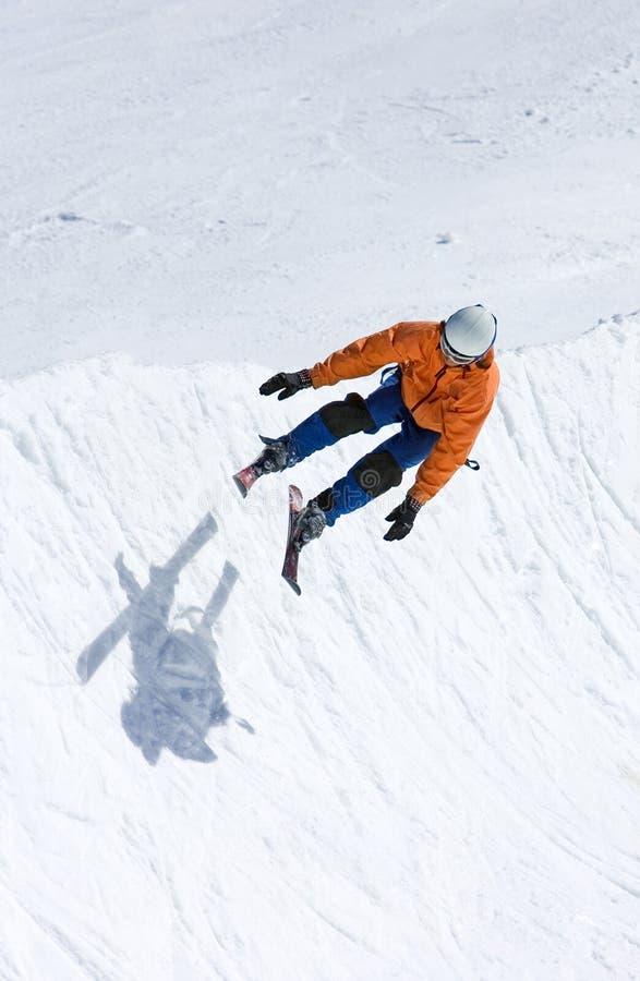 半管道pradollano手段滑雪滑雪者西班牙 图库摄影