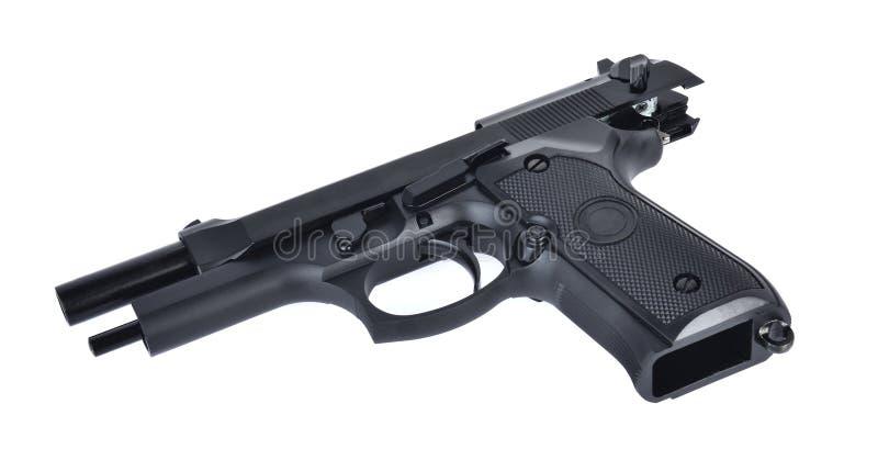 半自动9个m m在白色背景隔绝的手枪手枪 免版税库存图片