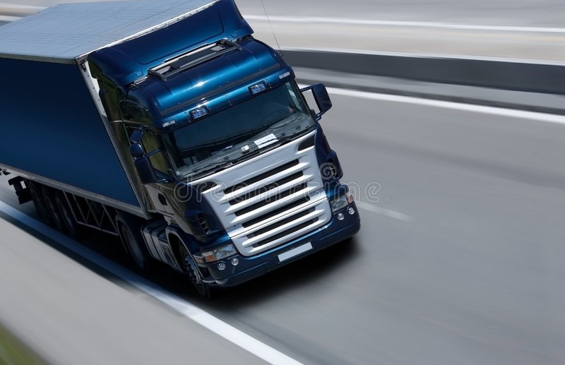 半蓝色卡车 库存图片