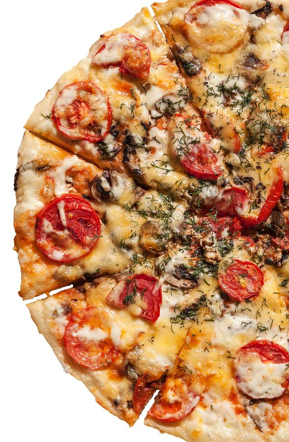 半薄饼用在白色背景和乳酪隔绝的火腿 免版税库存图片