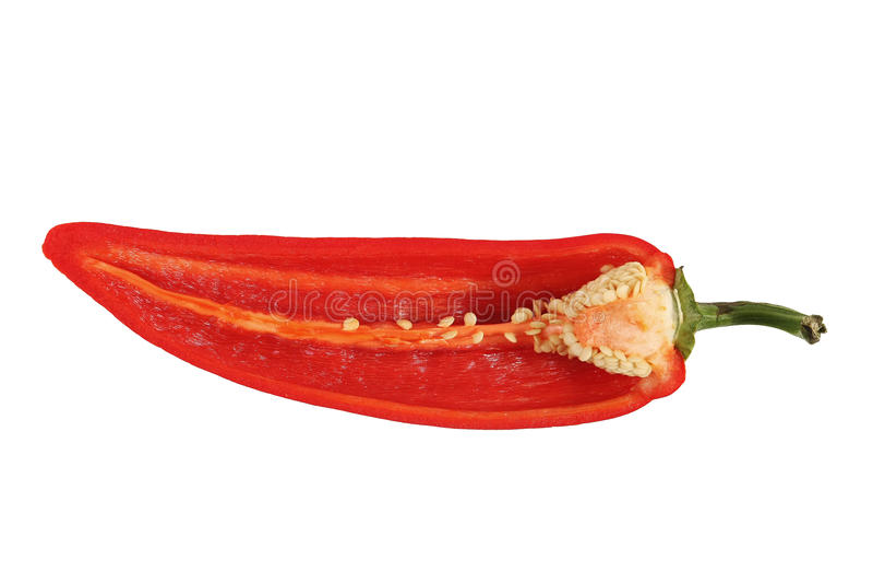 半辣椒的果实剪切红色 图库摄影