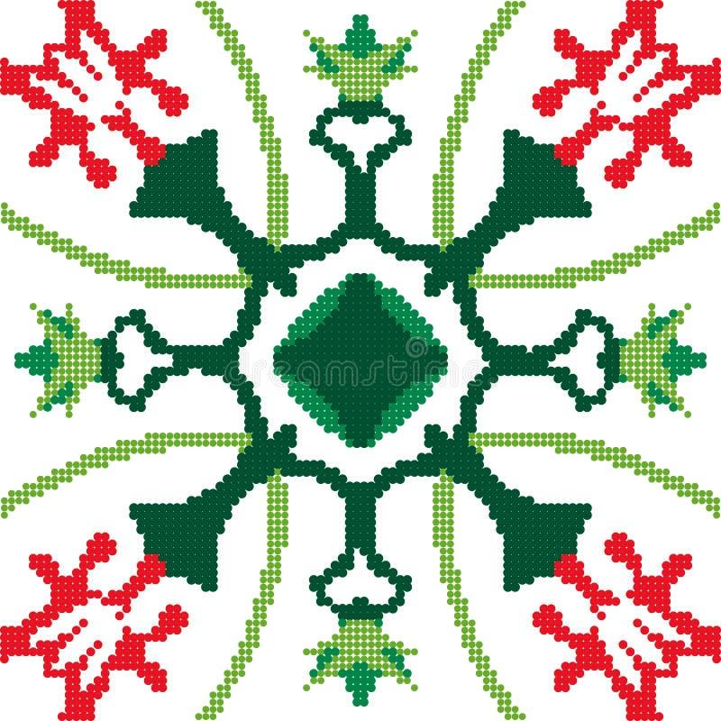 半音五颜六色的无缝的减速火箭的样式自然红色花绿色 库存例证