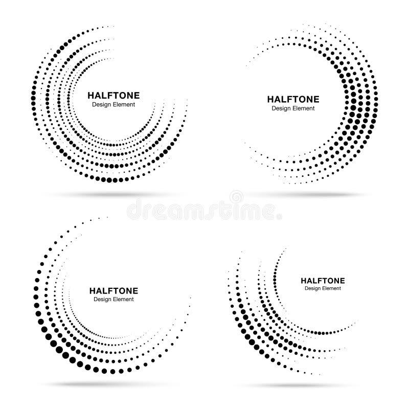 半音圆漩涡被加点的框架集合 圈子打旋在白色背景隔绝的小点 商标设计元素 库存例证