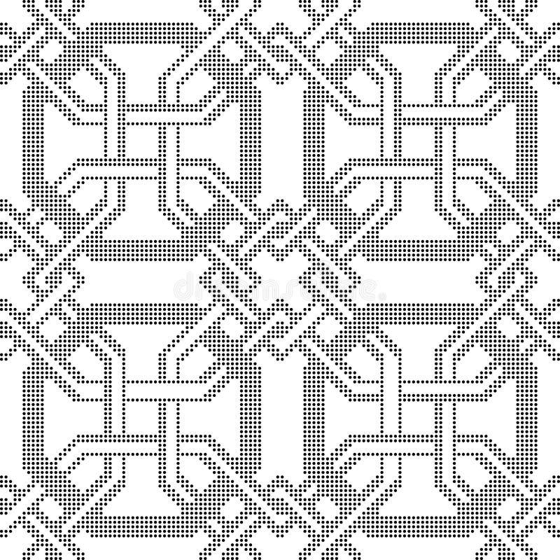 半音圆的黑无缝的背景八角形物框架十字架geo 库存例证