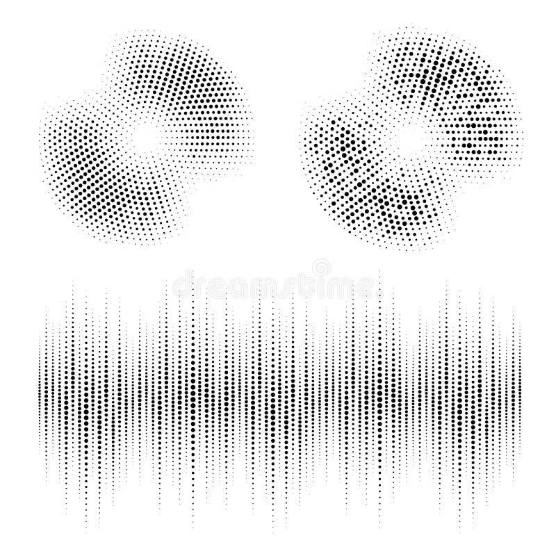 半音圈子框架加点了被设置的背景 使用半音圈子小点纹理的圆的边界 音频调平器 向量 皇族释放例证