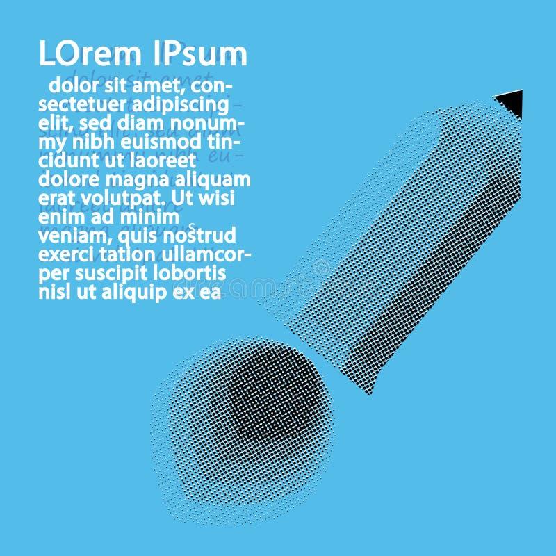 半音铅笔火箭队设计 创造性的想法 在蓝色的孤立 免版税库存图片