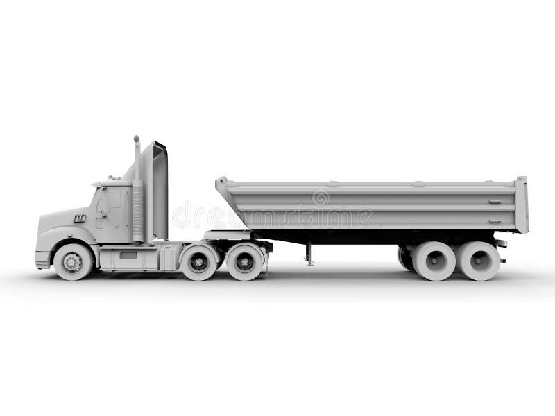 半货物卡车侧视图 皇族释放例证