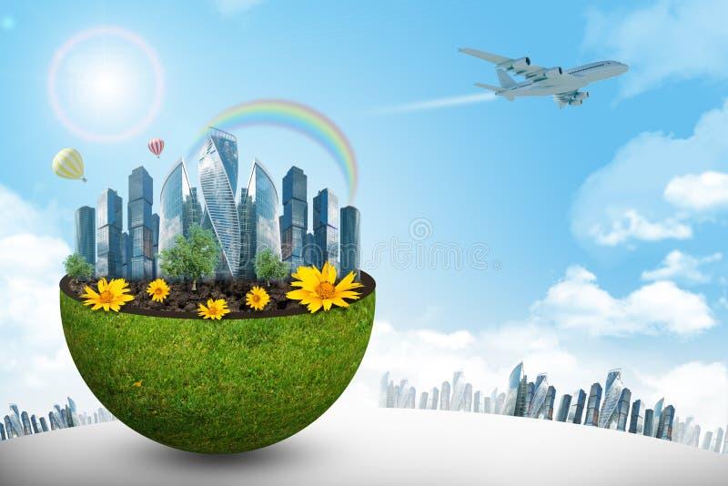 半绿色地球的城市与花 皇族释放例证
