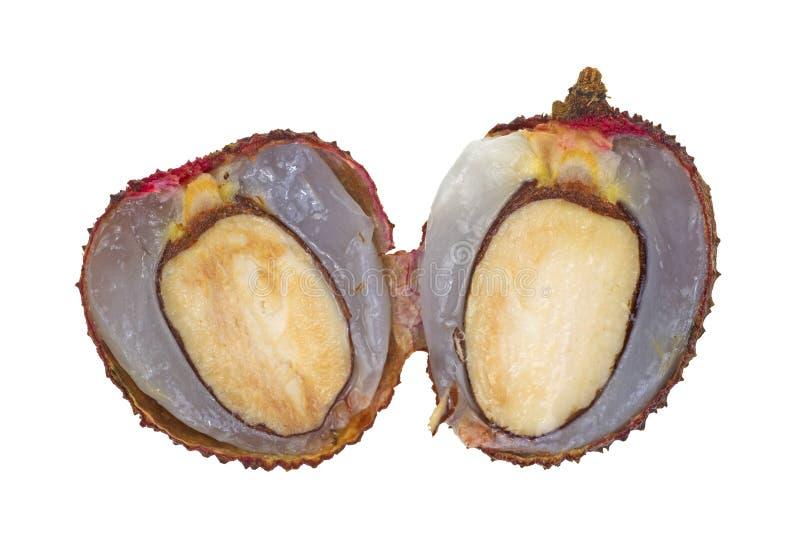 半lychee螺母已分解 库存图片