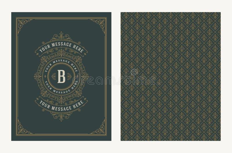 华丽和装饰传染媒介葡萄酒设计贺卡或婚姻的邀请的 与拷贝空间的减速火箭的页设计为 皇族释放例证
