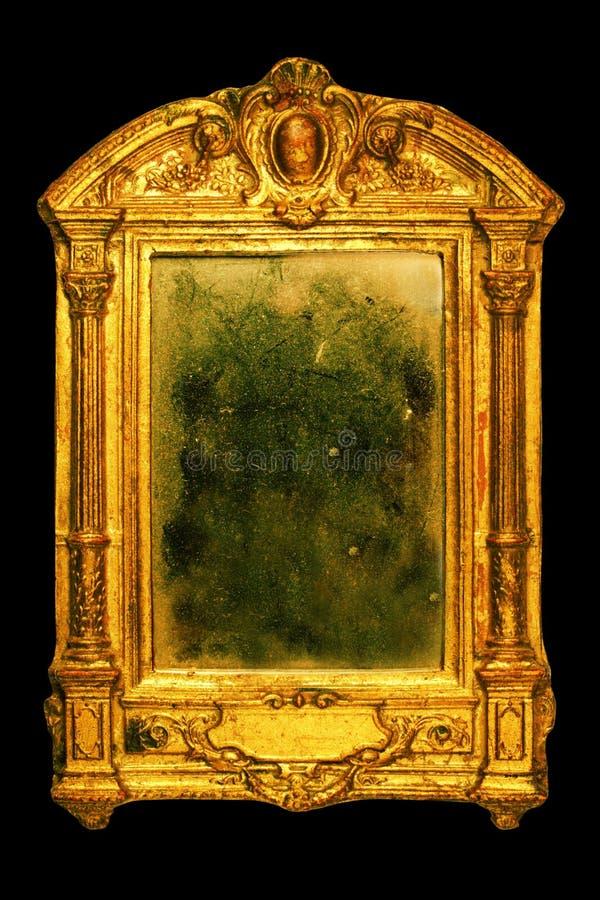 华丽多灰尘的框架的镜子 免版税库存图片