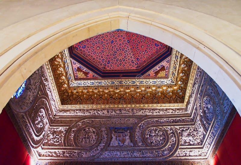 华丽天花板、历史的Alcà ¡ zar de塞戈维亚,卡斯提尔和利昂,西班牙 库存照片