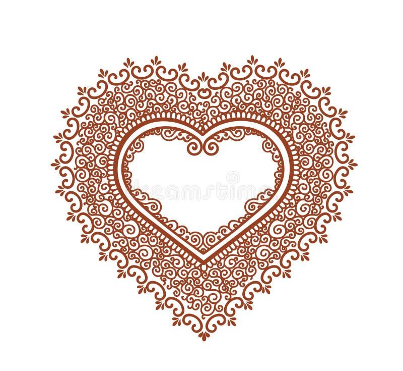 华丽心脏为情人节-无刺指甲花纹身花刺装饰品 向量 向量例证