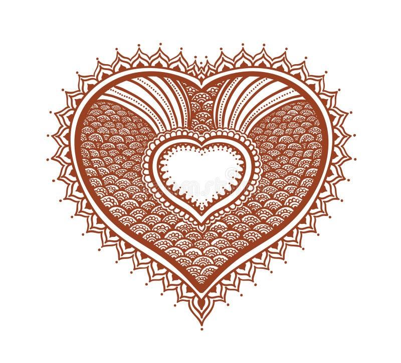 华丽心脏-装饰东方无刺指甲花纹身花刺 Mendy伊斯兰教的传染媒介 向量例证