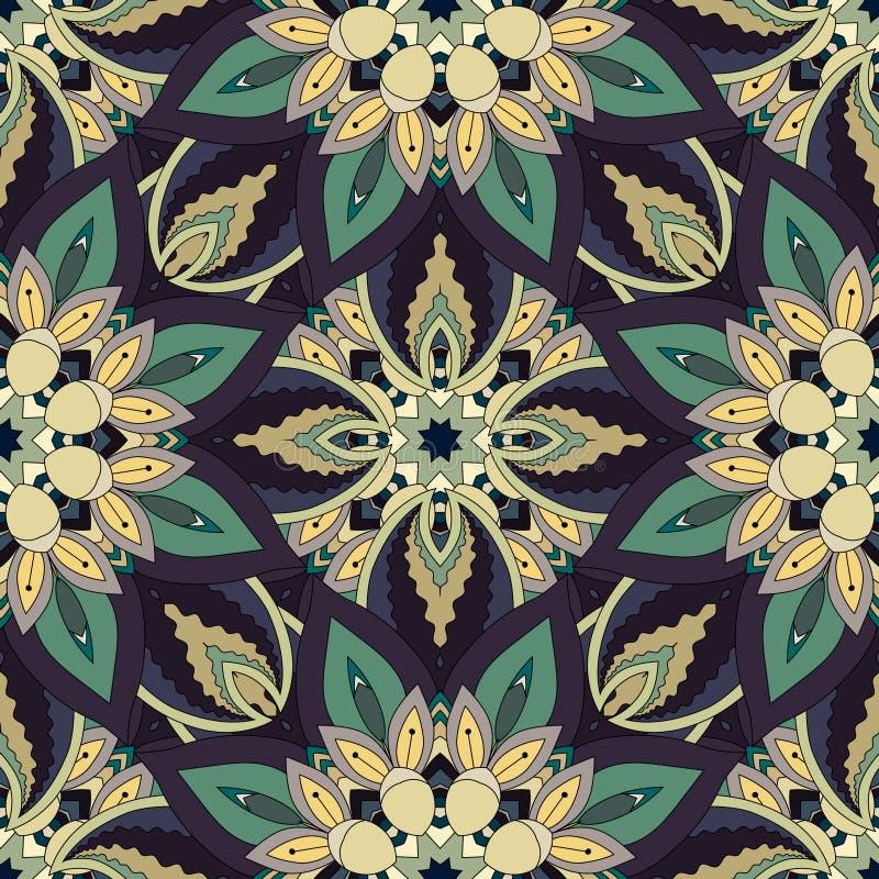华丽花卉无缝的纹理,与葡萄酒坛场元素的不尽的样式 库存例证